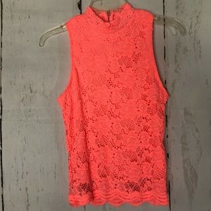 CHARLOTTE RUSSE neon orange lace blouse